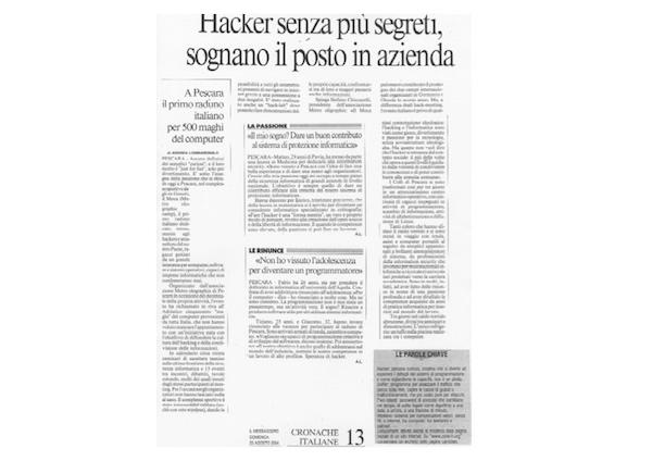 Rassegna Stampa - Metro Olografix - Hacker senza più segreti, sognano il posto in azienda - Il messaggero 11/08/2004