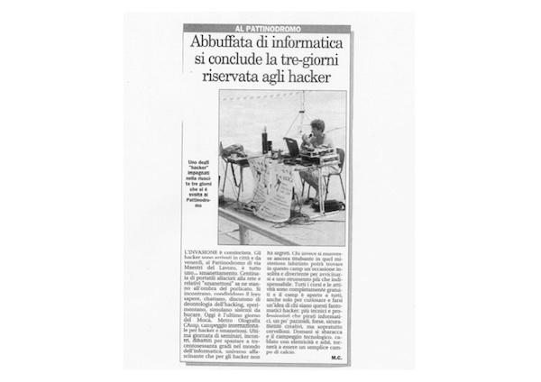 Rassegna Stampa - Metro Olografix - Abbuffata di informatica, si conclude la tre-giorni riservata agli hacker - Il messaggero 08/2004