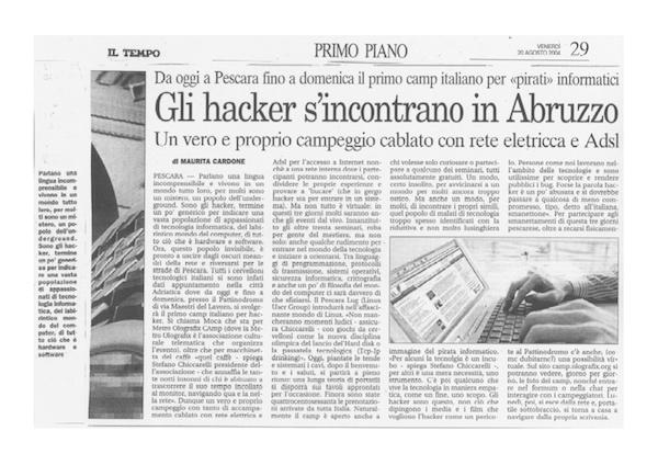 Rassegna Stampa - Metro Olografix - Gli Hacker s'incontrano in abruzzo - Il Tempo 20/08/2015