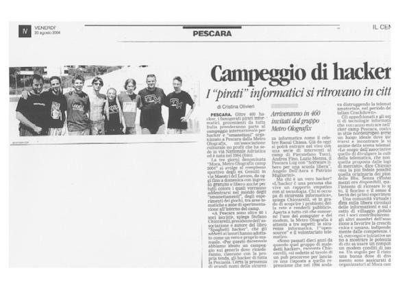 Rassegna Stampa - Metro Olografix - Campeggio di Hacker - Il Centro 20/08/2004