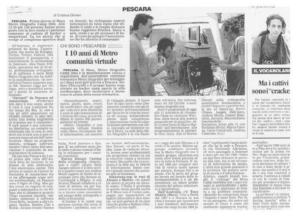 Rassegna Stampa - Metro Olografix - I 10 anni di Metro comunità virtuale - Il Centro 21/08/2004