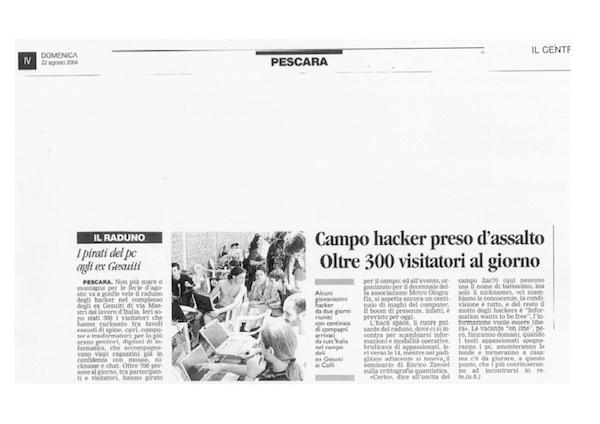 Rassegna Stampa - Metro Olografix - I pirati del pc agli ex gesuiti - Il centro 22/08/2004