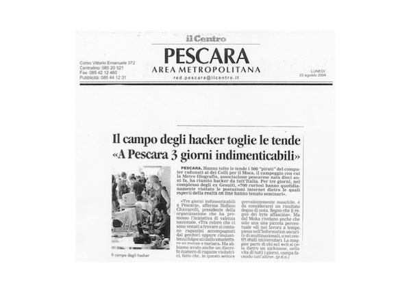 """Rassegna Stampa - Metro Olografix - Il campo degli hacker toglie le tende """"A Pescara 3 giorni indimenticabili"""" - Il centro 23/08/2004"""