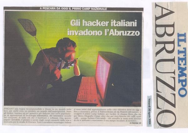 Rassegna Stampa - Metro Olografix - Gli hacker italiani invadono l'Abruzzo - Il tempo 20/08/2004