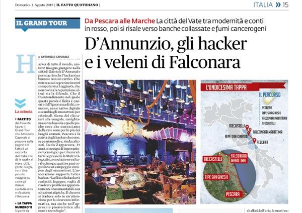 Rassegna Stampa - Metro Olografix - D'Annunzio, gli hacker e i veleni di Falconara - Il Fatto Quotidiano - 02/08/2015